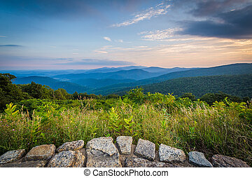 View of the Blue Ridge Mountains from Skyline Drive, in Shenandoah National Park, Virginia.