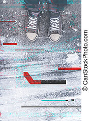 Pair of sneakers on pavement with digital glitch effect,...