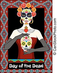 Dia de los Muertos card with calavera woman and sugar skull