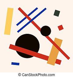 plano, composición, suprematism, Extracto, Ilustración,...