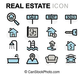 Vector flat line real estate icons set