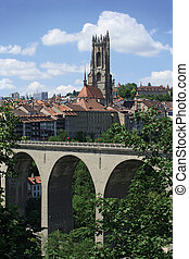 City of Fribourg Switzerland - Photo of the bridge and...