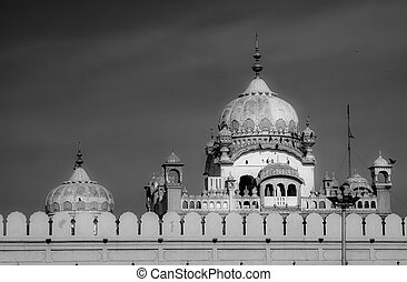 Domes of the Lahore Fort - Domes and the defensive walls of...