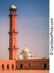 Minaret of the Badshahi Mosque - High minaret of the...