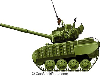 tank in comics style - Vector drawing of heavy tank in...