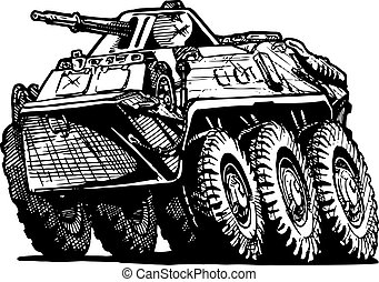 armored troop-carrier - Vector illustration of armored...