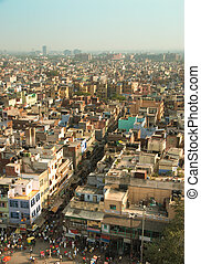 Old Delhi - An aerial view of congested Old Delhi, India