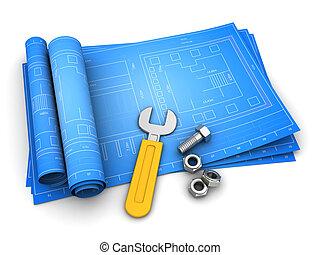 blueprints - 3d illustration of rolled blueprints with...