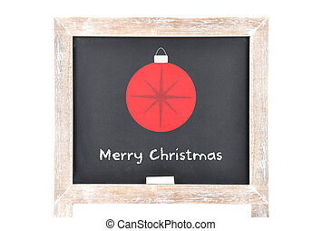 Christmas greetings with ball on blackboard