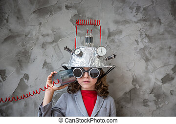 Child with toy virtual reality headset - Kid with toy...