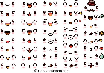 Template - Collection of cute lovely kawaii emoticon emoji...