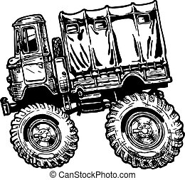 military truck - Vector illustration of military truck in...
