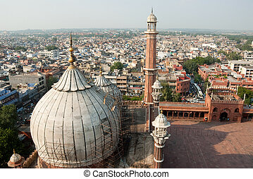 Delhi - An aerial view of the Jama Masjid, Delhi, India
