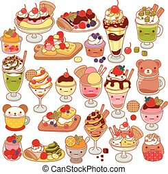 Template - Collection of lovely baby sweet dessert doodle...