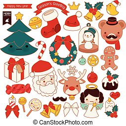 Template - Collection of lovely Christmas doodle icon, cute...