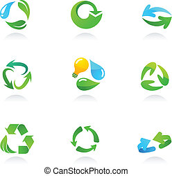 Glossy recycling icons - Collection of glossy 3d recycling...