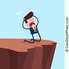 desperate businessman kneeling in the cliff
