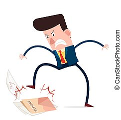 angry businessman - young businessman get angry and trample...