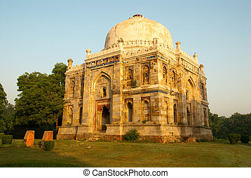 Delhi - Early morning at the beautiful Lodhi gardens in...