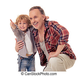 Grandpa and grandson - Handsome grandpa and grandson are...