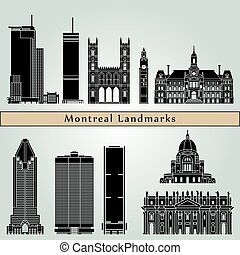 Montreal landmarks and monuments isolated on blue background...