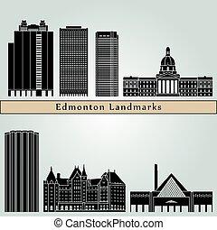 Edmonton landmarks and monuments isolated on blue background...