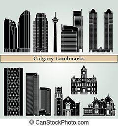 Calgary landmarks and monuments isolated on blue background...