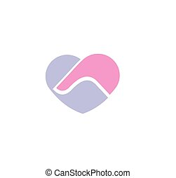 Isolated abstract blue and pink color human hands logo. Man and woman touching hands logotype. Love symbol. Heart shape relationship sign. Dating and marriage agency icon. Vector illustration.