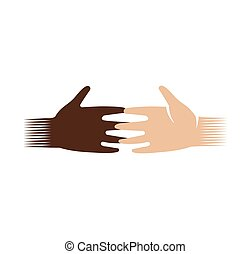 Isolated abstract dark and light skin human hands logo. White and black people touching fingers logotype.Equal rights sign. International friendship symbol. Charity campaign icon. Vector illustration.
