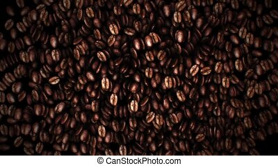 Brown coffee beans, close-up of coffee beans for background...