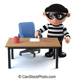 3d Sneaky burglar spys on your desk - 3d render of a burglar...