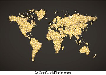 World Map made up from modern golden lights different sizes with bright glowing on dark background