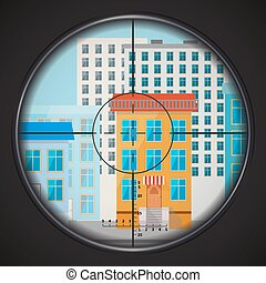 Sniper takes aim at house window, square flat illustration -...