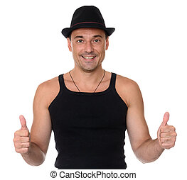 friendly smile athletic man gesture thumbs up. Isolated over...