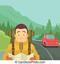 Hitchhiking tourism concept. Man character hold map. Vector...