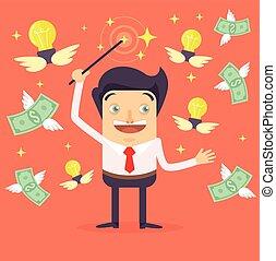 Businessman character makes money Vector flat cartoon...