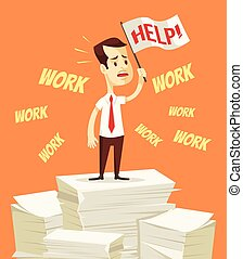Businessman need help with work. Office worker hold white...