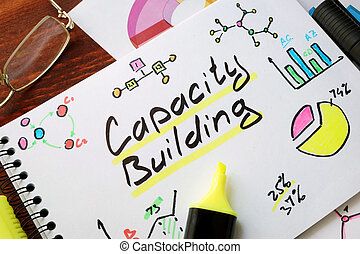 Capacity Building written in a notepad with marker.