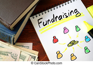 Fundraising written in a notepad. Charity concept.