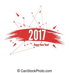 Smear a watercolor painting creative happy new year 2017...