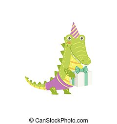 Crocodile Cute Animal Character Attending Birthday Party...