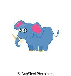 Blue Elephant Toy Exotic Animal Drawing
