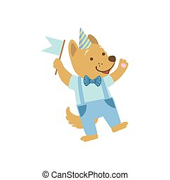 Puppy Cute Animal Character Attending Birthday Party