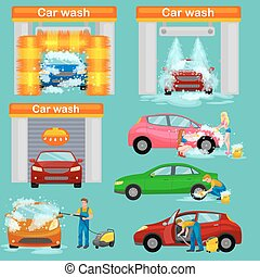 car wash services, auto cleaning with water and soap, car...