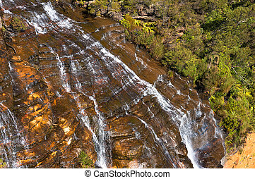 Wentworth Falls waterfall close up view from above - Close...