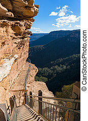 Mountain track over cliff edge - Mountain trail over cliff...