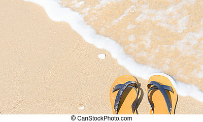 Flipflops - Tropical vacation concept - sandal on a sandy...