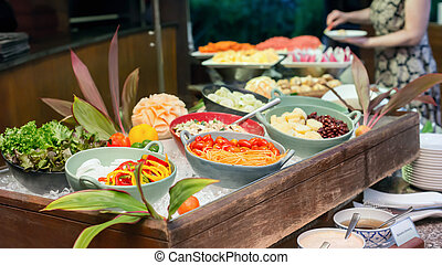 Salad bar - Selection of salads at a buffet bar in a luxury...
