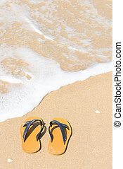 Flipflops - Tropical vacation concept - Flipflops on a sandy...