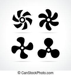 Fan propeller icons set